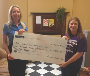 Cheque Presentation to Hospice - July 2015